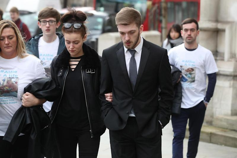 Ruling: Tom Evans and Kate James, tha parents of Alfie, lost their high court battle (PA)