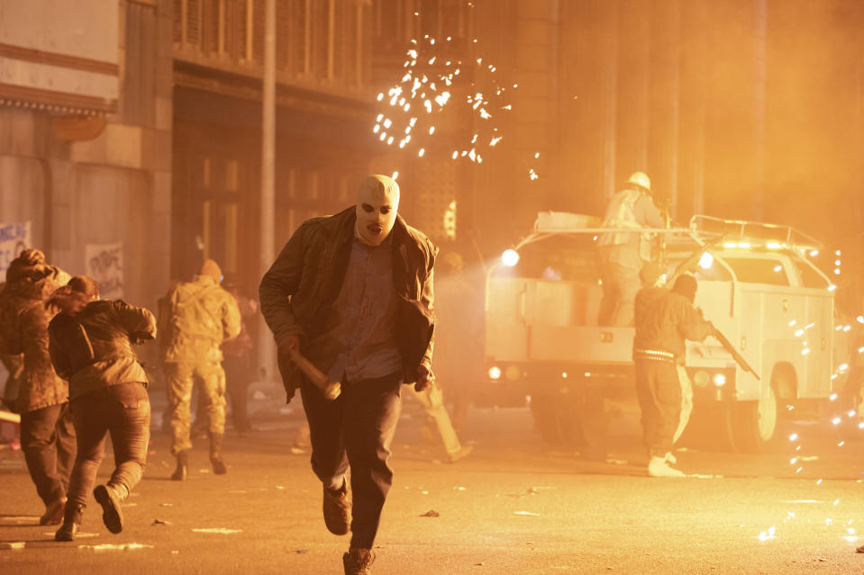"""This image released by Universal Pictures shows a scene from """"The Forever Purge,"""" directed by Everardo Valerio Gout. ( Jake Giles Netter/Universal Pictures via AP)"""