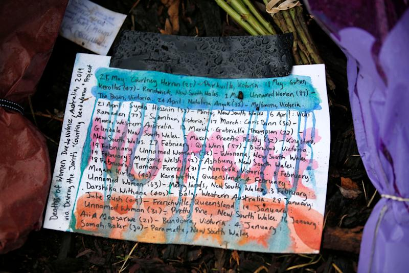 Messages at the makeshift shrine for 25-year-old Courtney Herron in Royal Park.