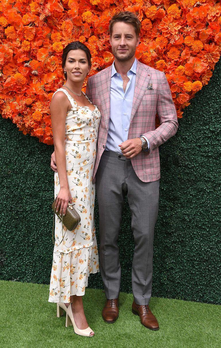 US actress Sofia Pernas and US actor Justin Hartley arrive for the Veuve Clicquot Polo Classic 2021 at Will Rogers State Park in Pacific Palisades, California, on October 2, 2021. (Photo by LISA O'CONNOR / AFP)