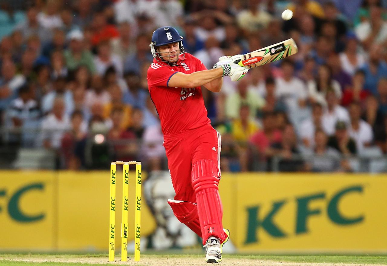 SYDNEY, AUSTRALIA - FEBRUARY 02:  Luke Wright of England bats during game three of the International Twenty20 series between Australia and England at ANZ Stadium on February 2, 2014 in Sydney, Australia.  (Photo by Mark Nolan/Getty Images)