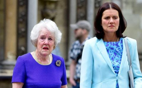 Mary Parkinson and her mother, Ann, attend a service of thanksgiving for the life and work of Lord Cecil Parkinson in June 2016 - Credit: Steve Back/Barcroft Media