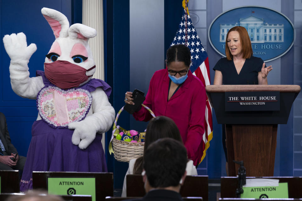 White House press secretary Jen Psaki speaks as the Easter Bunny visits the briefing room to hand out eggs during a press briefing at the White House, Monday, April 5, 2021, in Washington. (AP Photo/Evan Vucci)