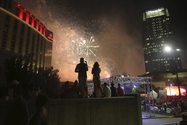 "<p>Spectators watch fireworks during the ""Let Freedom Sing!"" Music City's July 4th celebration on Wednesday, July 4, 2018, in Nashville, Tenn. (Photo: Laura Roberts/Invision/AP) </p>"