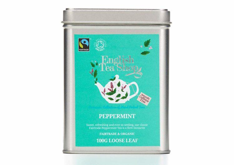 peppermint tea in tin mint color