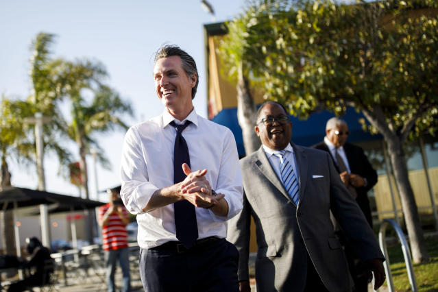 Lt. Gov. Gavin Newsom, Democratic candidate for governor of California, during a campaign visit with Los Angeles County Supervisor Mark Ridley-Thomas on May 31, 2018, in Los Angeles. (Photo: Patrick T. Fallon for Yahoo News)