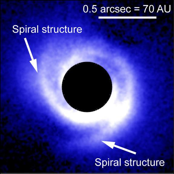 Spiral Dust Clouds May Reveal Alien Planets