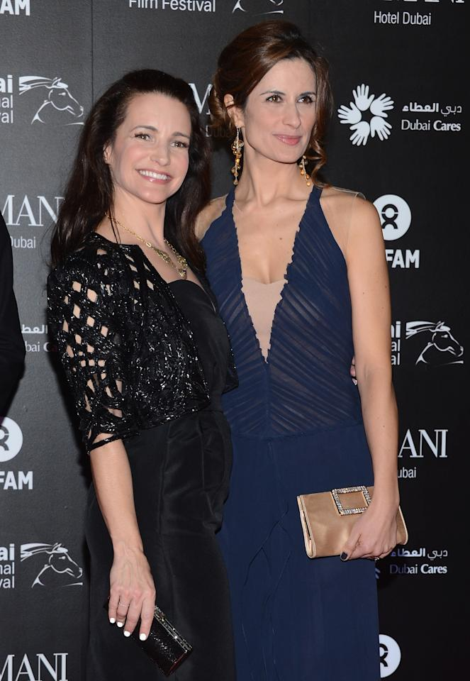 """DUBAI, UNITED ARAB EMIRATES - DECEMBER 14:  Actress Kirstin Davis and Livia Firth attend the 2012 Dubai International Film Festival, Dubai Cares and Oxfam """"One Night to Change Lives"""" Charity Gala at the Armani Hotel on December 14, 2012 in Dubai, United Arab Emirates.  (Photo by Andrew H. Walker/Getty Images for DIFF)"""
