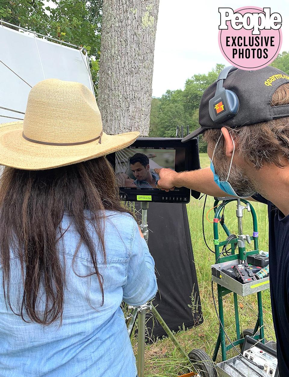<p>Trey Fanjoy has directed every single one of my music videos and we collaborate really well together. She is incredible, and you can catch her here with the DP checking the monitor and ensuring we got the right shots.</p>
