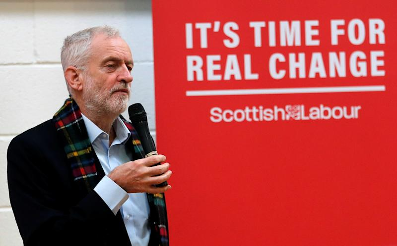 Labour Party leader Jeremy Corbyn speaks during a visit to Heart of Scotstoun Community Centre as part of his general election campaign in Glasgow, Scotland, Britain November 13, 2019. REUTERS/Russell Cheyne