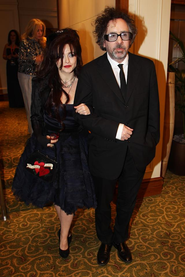 LONDON, ENGLAND - FEBRUARY 12:  (UK TABLOID NEWSPAPERS OUT) Tim Burton and Helena Bonham Carter attend The Orange British Academy Film Awards 2012 afterparty at The Grosvenor House Hotel on February 12, 2012 in London, England.  (Photo by Dave Hogan/Getty Images)