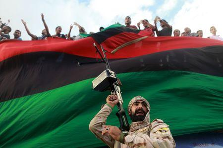 One of the members of the military protecting a demonstration against candidates for a national unity government proposed by U.N. envoy for Libya Bernardino Leon, is pictured in Benghazi