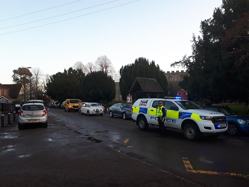 Police were waiting outside the church to take the couple to their reception (Bedfordshire Police)