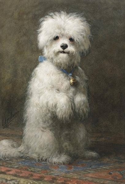 "This undated photo provided by Sotheby's shows a painting of a dog by Otto Eerelman titled ""Sitting Up,"" that belonged to the late philanthropist Brooke Astor. Sotheby's said the piece will be offered at a Sept. 24-25, New York auction of some 900 personal items from Astor's Park Avenue duplex and her stone manor in Westchester. (AP Photo/Sotheby's)"