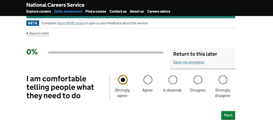 A question from the government's careers advice quiz  (Photo: Gov.UK)