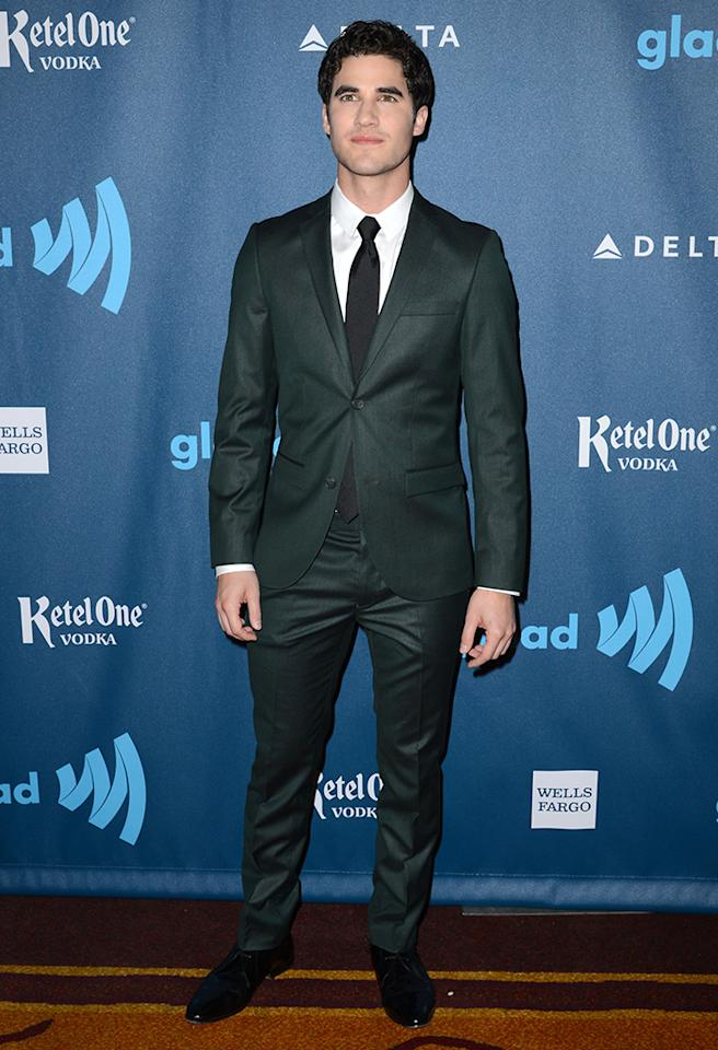 LOS ANGELES, CA - APRIL 20:  Actor Darren Criss arrives at the 24th Annual GLAAD Media Awards presented by Ketel One and Wells Fargo at JW Marriott Los Angeles at L.A. LIVE on April 20, 2013 in Los Angeles, California.  (Photo by Earl Gibson III/Getty Images)