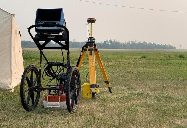Ground-penetrating radar equipment from SNC Lavalin was obtained by the Battleford Agency Tribal Chiefs and will be used in this weekend's search of the former Delmas Indian Residential School grounds. (Guy Quenneville/CBC - image credit)