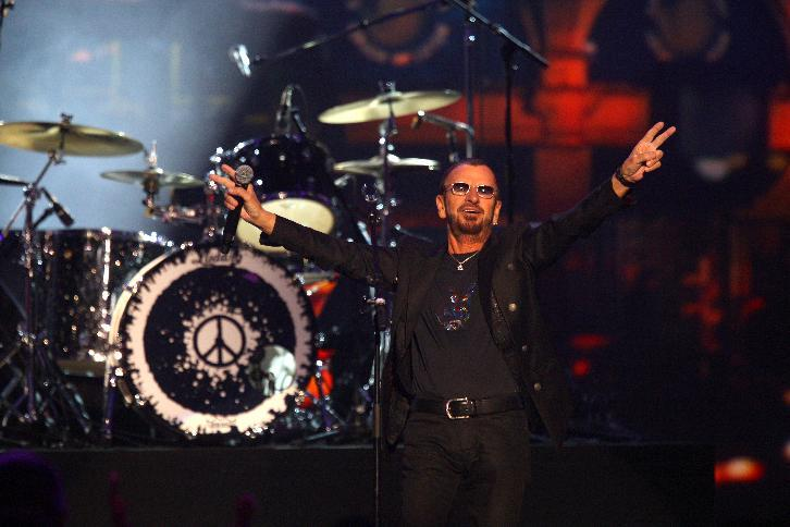 Ringo Starr performs at The Night that Changed America: a Grammy Salute to the Beatles, on Monday, Jan. 27, 2014, in Los Angeles. (Photo by Zach Cordner/Invision/AP)