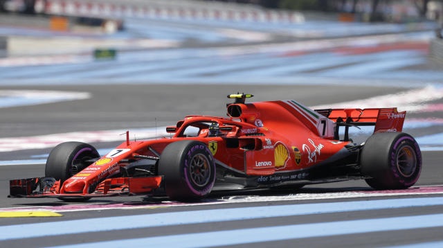Ferrari driver Kimi Raikkonen of Finland steers his car during the first free practice at the Paul Ricard racetrack, in Le Castellet, southern France, Friday, June 22, 2018. The Formula one race will be held on Sunday. (AP Photo/Claude Paris)