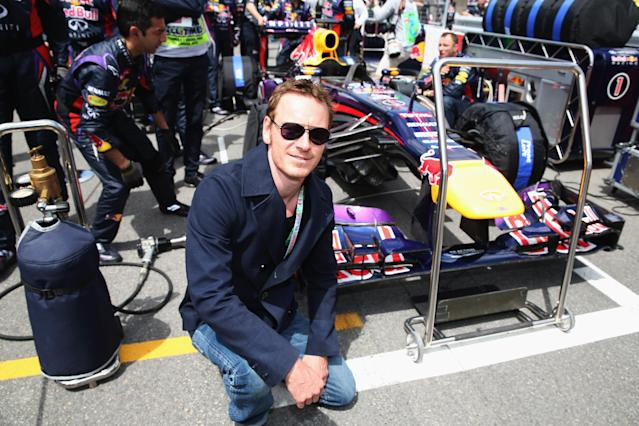 MONTREAL, QC - JUNE 09: Actor Michael Fassbender is seen on the grid before the Canadian Formula One Grand Prix at the Circuit Gilles Villeneuve on June 9, 2013 in Montreal, Canada. (Photo by Mark Thompson/Getty Images)
