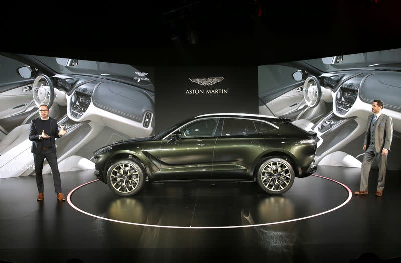 FILE PHOTO: Aston Martin DBX, the company's first sport utility vehicle, is displayed at its global launch ceremony in Beijing