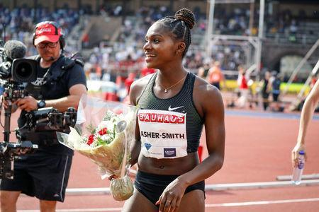 IAAF Athletics Diamond League - Women's 100m - Stockholm Stadium, Stockholm, Sweden - June 10, 2018 - Dina Asher-Smith of Great Britain reacts after winning the women's 100m event. TT News Agency/Christine Olsson via