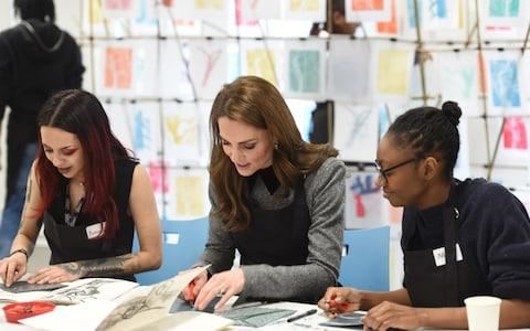 Kate tries her hand at lino cutting - Credit: Eddie Mulholland