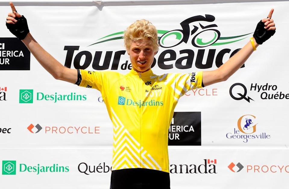 Keegan Swirbul (Jelly Belly-Maxxis) in yellow after the Queen stage at Tour de Beauce