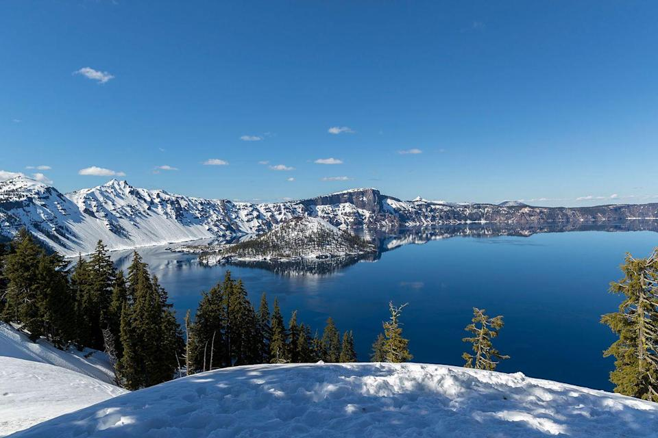 <p>This view from Crater Lake, Oregon will take your breath away in any season.</p>
