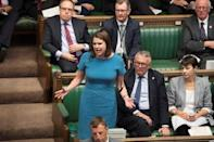 Britain's Liberal Democrat leader Jo Swinson speaks during Prime Minister's Questions session in the House of Commons in London