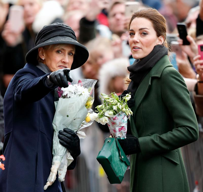 BLACKPOOL, UNITED KINGDOM - MARCH 06: (EMBARGOED FOR PUBLICATION IN UK NEWSPAPERS UNTIL 24 HOURS AFTER CREATE DATE AND TIME) Catherine, Duchess of Cambridge, accompanied by her Private Secretary Catherine Quinn, visits Blackpool Tower and greets members of the public on the Comedy Carpet on March 6, 2019 in Blackpool, England. (Photo by Max Mumby/Indigo/Getty Images)