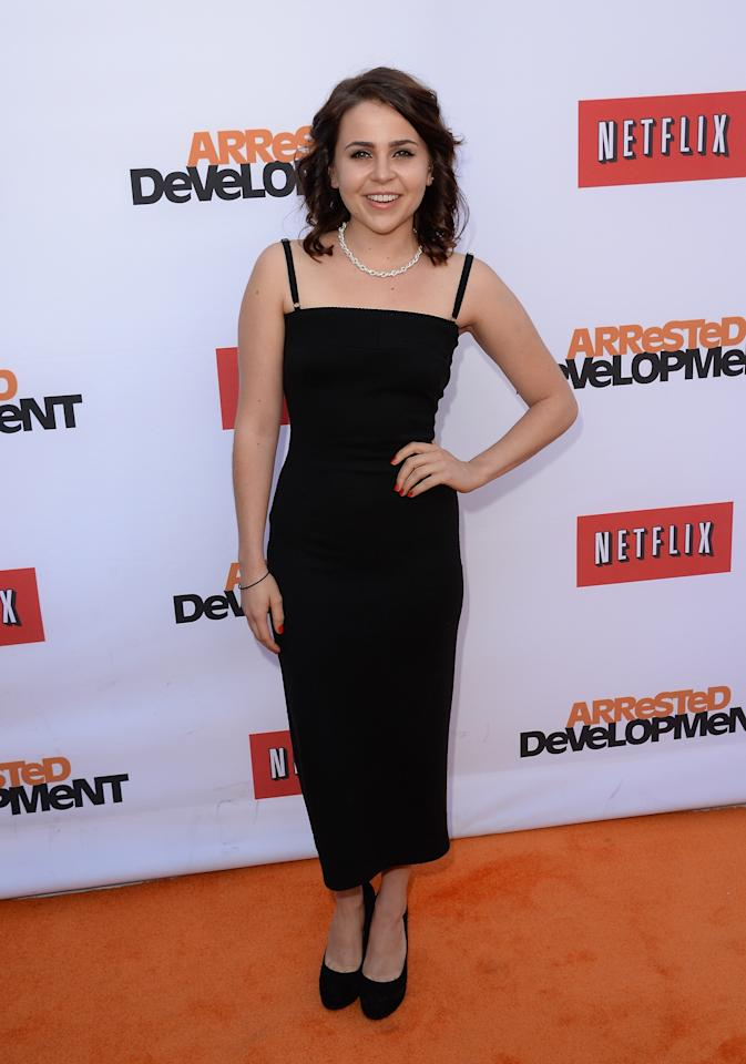 "HOLLYWOOD, CA - APRIL 29:  Actress Mae Whitman  arrives at the TCL Chinese Theatre for the premiere of Netflix's ""Arrested Development"" Season 4 held on April 29, 2013 in Hollywood, California.  (Photo by Jason Merritt/Getty Images)"