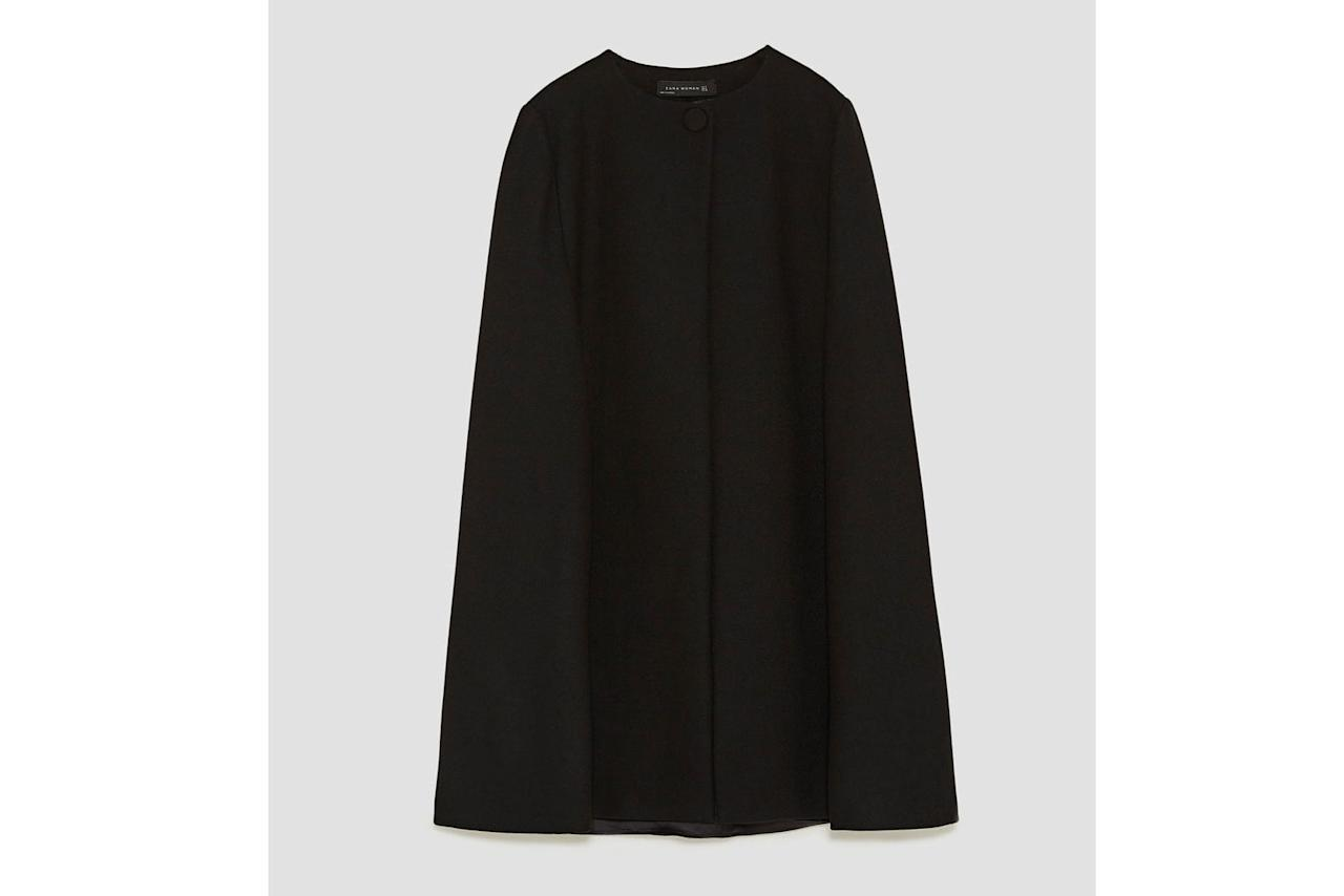 "<p>Buy it: $129; <a rel=""nofollow"" href=""https://www.zara.com/us/en/woman/outerwear/view-all/long-cloth-cape-c733882p5104080.html"">zara.com</a></p> <p>Next-level your workday wardrobe with this tailored knee-length stunner. A pretty pleat on the back adds ladylike polish.</p>"