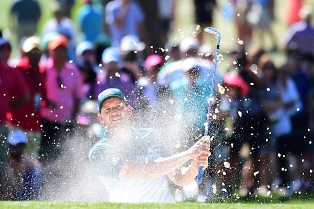 Sergio Garcia of Spain plays a shot from a bunker on the seventh hole during the final round of the 2017 Masters Tournament at Augusta National Golf Club on April 9, 2017 in Augusta, Georgia (AFP Photo/Harry How)