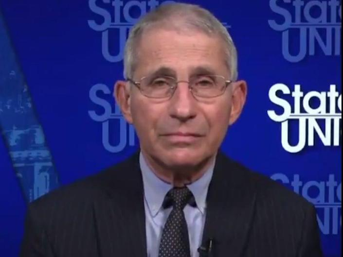 <p>Dr Anthony Fauci talking to anchor Dana Bush during State of the Union on Sunday 27 December 2020.</p> ((CNN))