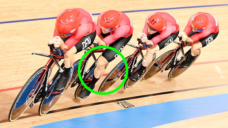Denmark's men's team pursuit team courted controversy at the Tokyo Olympics after all wearing leg tape which rivals suggested gave them an aerodynamic advantage. (Photo by PETER PARKS/AFP via Getty Images)
