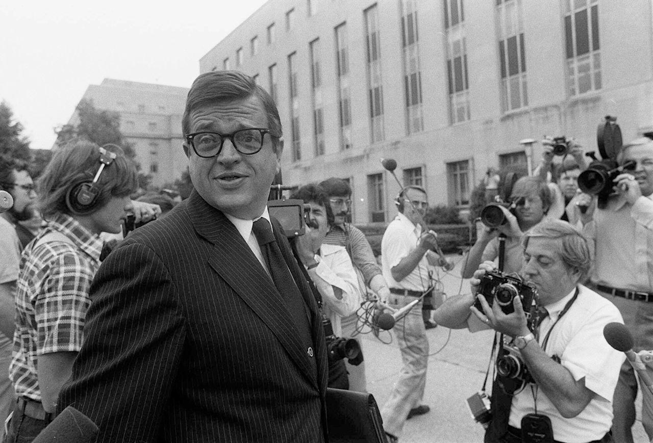 FILE - In this June 21, 1974 , file photo former Nixon White House aide Charles W. Colson arrives at U.S. District Court in Washington to be sentenced for obstructing justice. Colson, the tough-as-nails special counsel to President Richard Nixon who went to prison for his role in a Watergate-related case and became a Christian evangelical helping inmates, has died. He was 80. Jim Liske, chief executive of the Lansdowne-based Prison Fellowship Ministries that Colson founded, said Colson died Saturday, April 21, 2012. (AP Photo/Bob Daugherty)