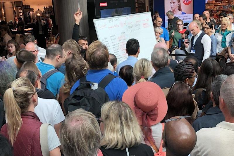 Destination row: the whiteboard at Gatwick airport's South Terminal after the normal departure screens failed: Rob Fahey
