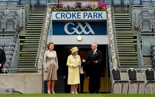 The Queen with Mary McAleese and GAA president Christy Cooney at Croke Park, Dublin, in 2011