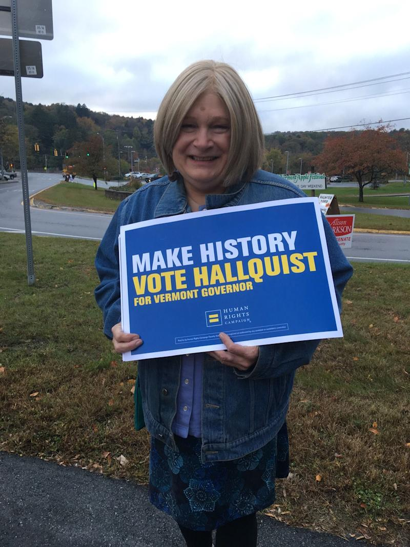 Brenda Churchill campaigns for Christine Hallquist, the first transgender major party candidate for governor in the U.S.