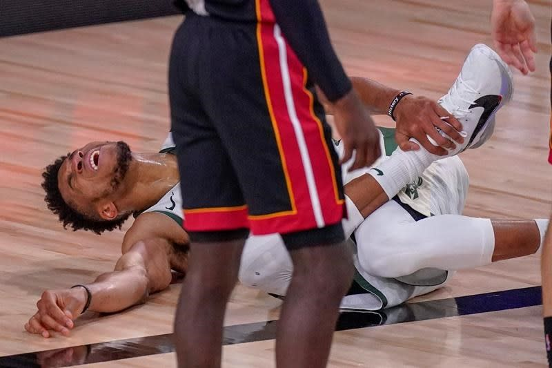 Bucks' Antetokounmpo misses most of Game 4 with ankle injury