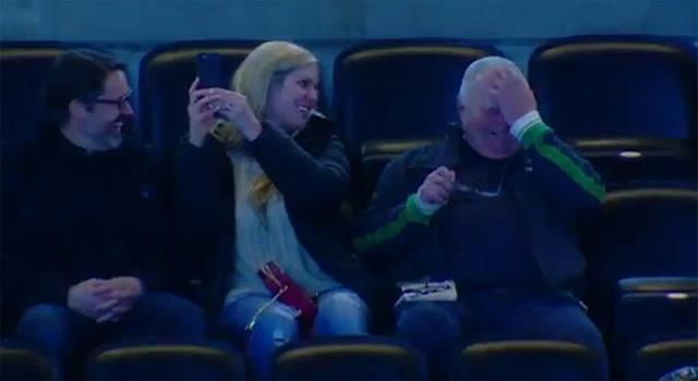 """Tyson Jost's grandfather, Jim. sheds tears of joy as his grandson makes his NHL debut with the <a class=""""link rapid-noclick-resp"""" href=""""/nhl/teams/col/"""" data-ylk=""""slk:Colorado Avalanche"""">Colorado Avalanche</a>. (Photo: Instagram/@coloradoavalanche)"""