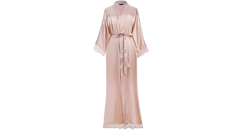 Satin Robe Long with Lace Trim (Credit: Amazon)
