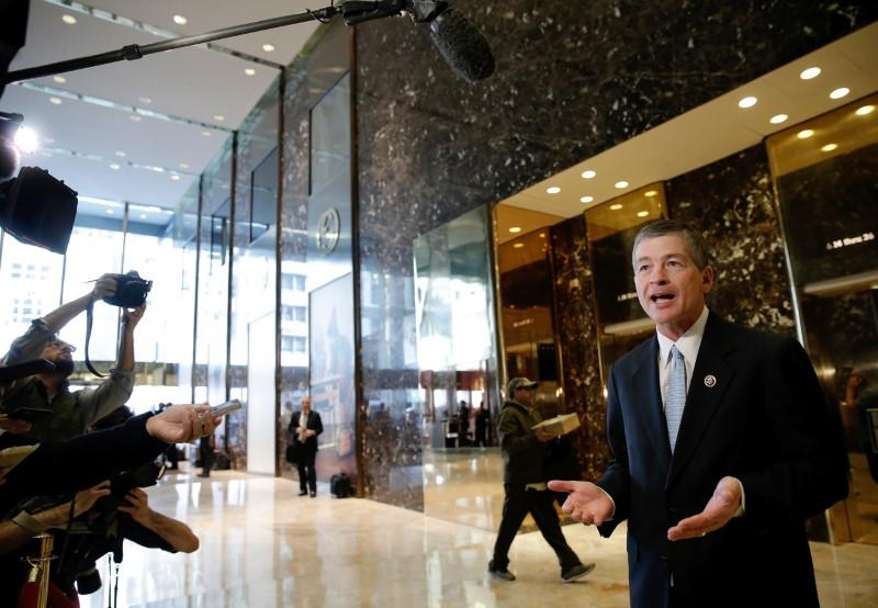 U.S. Representative Jeb Hensarling (R-TX) speaks to members of the media after meeting with U.S. President Elect Donald Trump at Trump Tower in New York