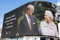 <p>A tribute to Prince Philip at London's Piccadilly Circus. (Getty)</p>