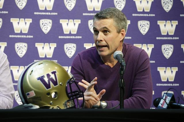 Washington head football coach Chris Petersen talks to reporters Monday, March 3, 2014, in Seattle. Washington begins spring NCAA college football practice on Tuesday, March 4, 2014. (AP Photo/Ted S. Warren)