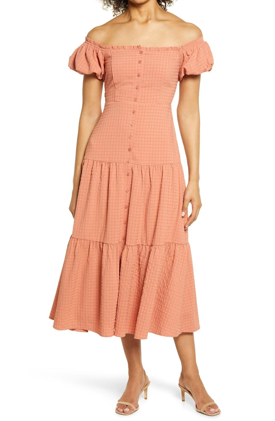 <p>This <span>Floret Studios Off the Shoulder Tiered Midi Dress</span> ($89) looks polished with its tiered skirt, puffy sleeves, and shoulder-baring neckline.</p>
