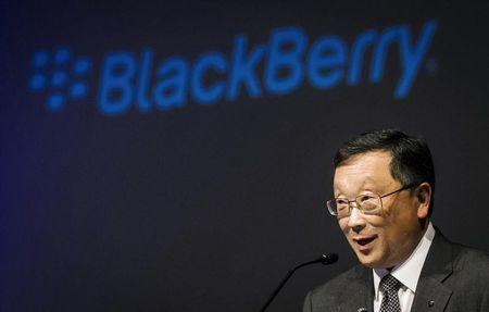 Blackberry CEO Chen speaks during their annual general meeting for shareholders in Waterloo