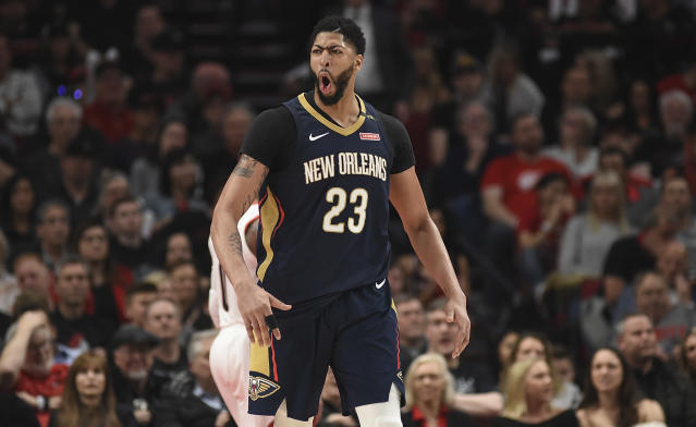 Anthony Davis shined bright on Saturday, leading the Pelicans to a 1-0 lead in their best-of-seven series against the Blazers. (Getty)