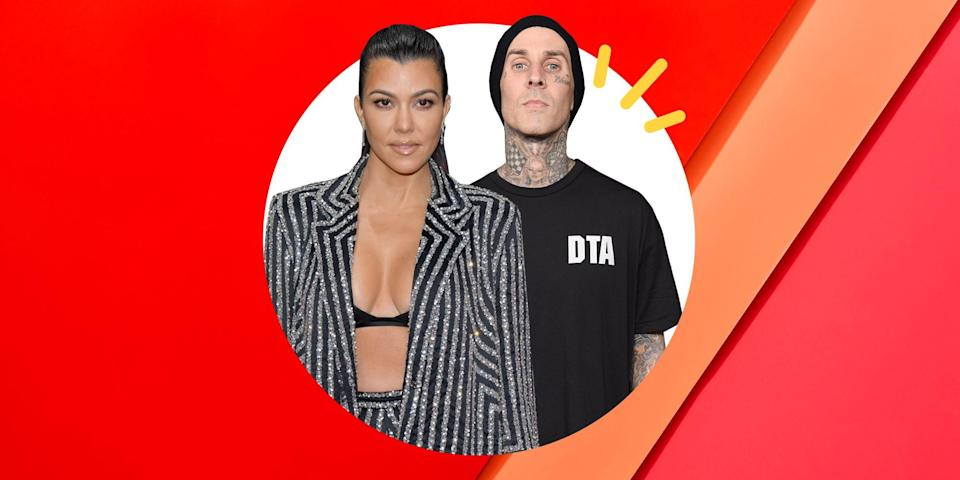 """<p>It only took a few months of sleuthing before Kardashian mega fans figured out the eldest Kardashian sister, Kourtney, wasn't <em>just</em> friends with Blink-182 drummer, Travis Barker, as they'd claimed. Though that was the truth at some point—the two have known each other for years—things took a more romantic turn in January 2021. </p><p>As is the case with most modern love stories, the signs were in the social media posts. Travis posted flirtatious emojis and comments underneath a number of Kourtney's Instagram photos, including a rose emoji in the comment section Kourtney's sexy selfie snapped in her closet. After that, then the hints got a bit more obvious when a few days after Valentine's Day, Kourtney posted a <a href=""""https://www.instagram.com/p/CLYAaxaFR_H/"""" rel=""""nofollow noopener"""" target=""""_blank"""" data-ylk=""""slk:photo of her and Travis holding hands"""" class=""""link rapid-noclick-resp"""">photo of her and Travis holding hands</a> in the car with their fingers interlocked. She didn't tag him, but, in April, when Travis posted a video of <a href=""""https://www.instagram.com/p/CN0WPann8wk/"""" rel=""""nofollow noopener"""" target=""""_blank"""" data-ylk=""""slk:Kourtney sucking that same tatted-up thumb"""" class=""""link rapid-noclick-resp"""">Kourtney sucking that same tatted-up thumb</a>, it helped clarify things. </p><p>And speaking of tattoos, Travis added <a href=""""https://www.instagram.com/p/CNcxEWYFt9e/"""" rel=""""nofollow noopener"""" target=""""_blank"""" data-ylk=""""slk:Kourtney's name to his collection of tattoos"""" class=""""link rapid-noclick-resp"""">Kourtney's name to his collection of tattoos</a> last month. This one seemingly strategically placed since it was inked over his heart. The script her name's written in even had fans speculating was Kourtney's handwriting. But it's Travis' most recent tribute that takes the cake. On May 11th, he posted a photo of a candle labeled: This Smells Like Kourtney's Orgasm. A play on the famed Goop candle, Travis seems to have gotten one specific to his partner. <"""